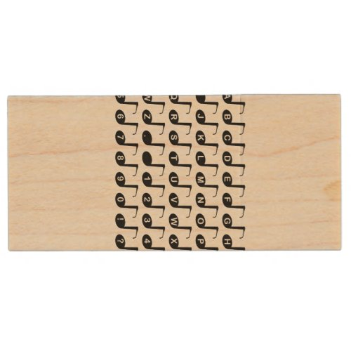 Musical Note Alphabet Wood Flash Drive