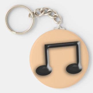 Musical Note Basic Round Button Keychain