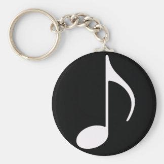 musical note ~ black basic round button keychain