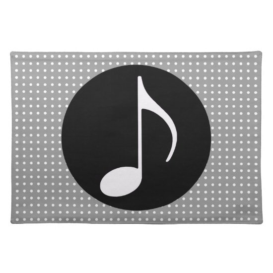 musical note ~ black cloth placemat