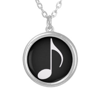 musical note, black silver plated necklace
