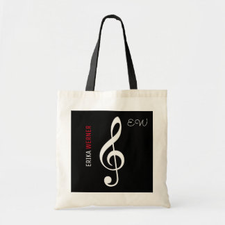 musical note black tote with your own name