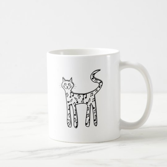 Musical note cat coffee mug