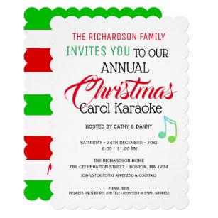 Karaoke Christmas Musical.Musical Note Christmas Carol Karaoke Invitation Zazzle Com