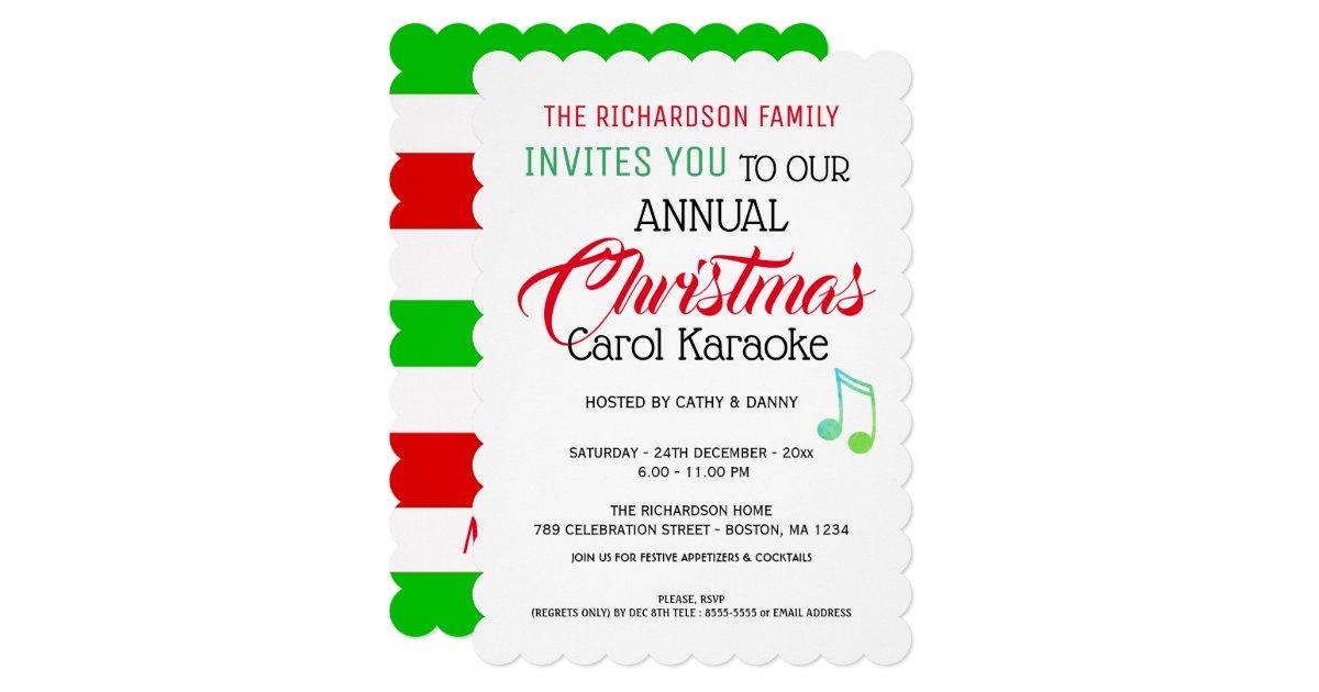 Musical Note Christmas Carol Karaoke Invitation Zazzle Com
