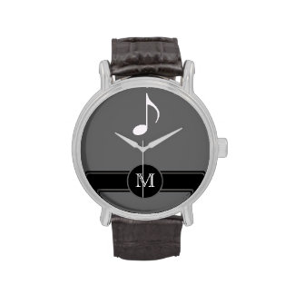 musical note label initial wrist watch