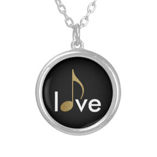 musical-note love-word silver plated necklace