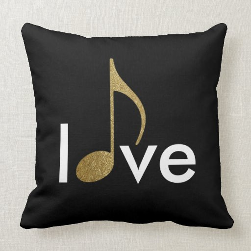 musical-note love-word throw pillow Zazzle