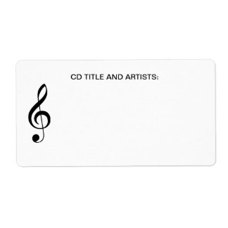 Musical Note Music Title Band Artist CD Case Shipping Label