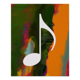 musical note on an abstract & colorful poster