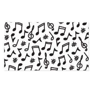Musical note pattern black and white music business card templates