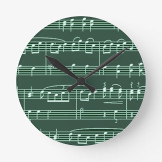musical note patterned round clock