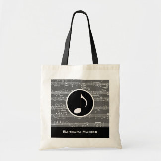 musical-note personalized budget tote bag