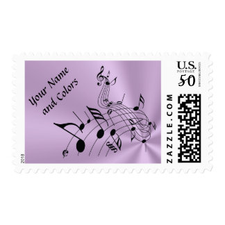 Musical Note Postage Stamps, YOUR TEXT and COLORS