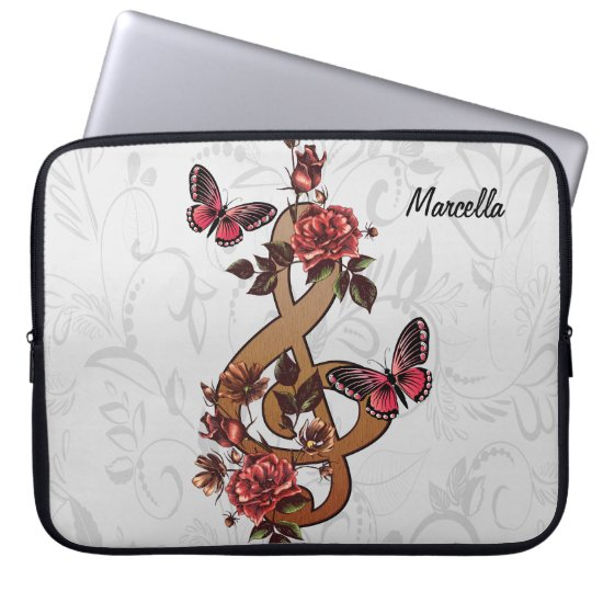 Musical note roses & butterflies computer sleeve