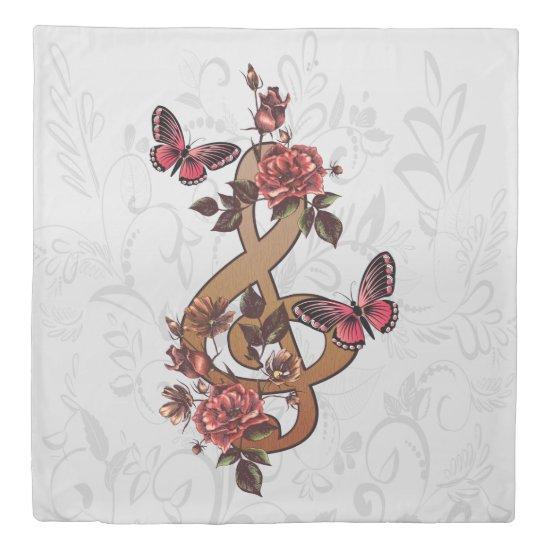 Musical note roses & butterflies duvet cover