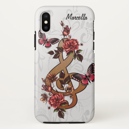 Musical note roses & butterflies iPhone XS case