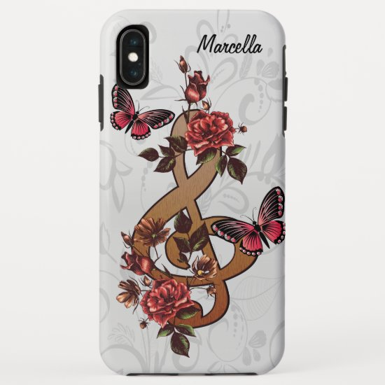 Musical note roses & butterflies iPhone XS max case