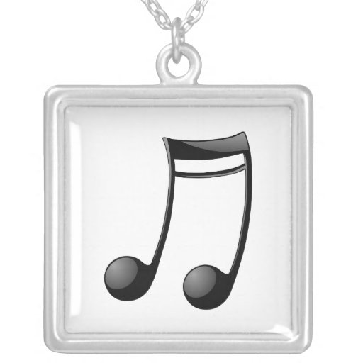 Musical Note Square Pendant Necklace