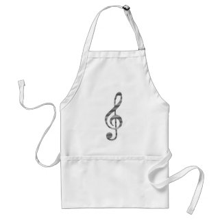 Musical note - strips - black and white. adult apron