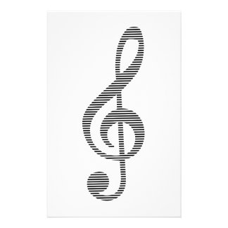 Musical note - strips - black and white. stationery