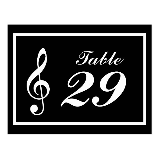 Musical Note Table Numbers (Black / White) Post Cards
