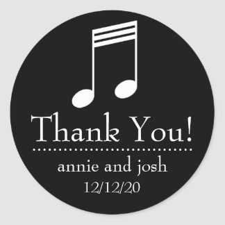 Musical Note Thank You Labels (Black / White)
