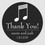 Musical Note Thank You Labels (Black / White) Round Sticker