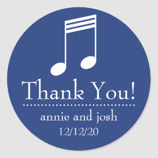 Musical Note Thank You Labels (Navy Blue / White)