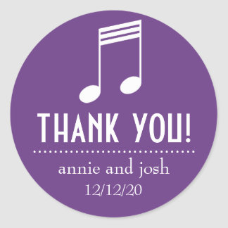 Musical Note Thank You Labels Purple White Round Sticker