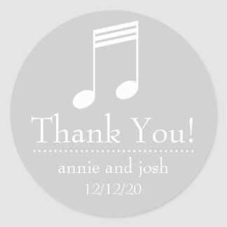 Musical Note Thank You Labels (Silver / White) Classic Round Sticker