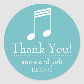 Musical Note Thank You Labels (Turquoise / White)