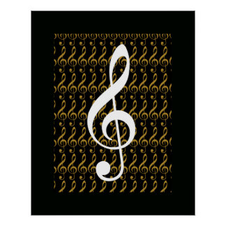 musical note, treble clef, cool graphic poster