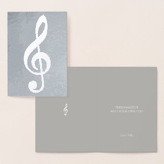 musical note / treble clef on silver foil card