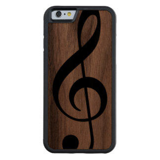 musical_note treble clef on wood carved® walnut iPhone 6 bumper case