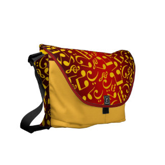 Musical Notes 2 (Maroon-Gold) Courier Bag