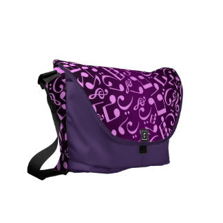 Musical Notes 2 (Plum) Courier Bag
