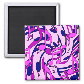 Musical Notes Abstract Pattern Blue Purple Pink Magnet