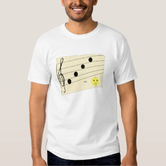 Musical notes and a smiley. shirt