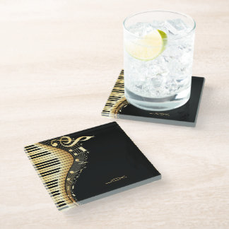 Musical Notes And Key Glass Coaster