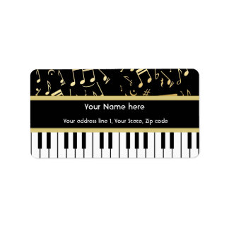 Musical Notes and Piano Keys Black and Gold Address Label