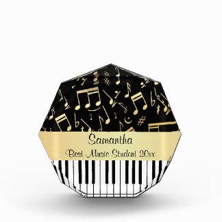 Musical Notes and Piano Keys Black and Gold Award
