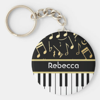 Musical Notes and Piano Keys Black and Gold Basic Round Button Keychain
