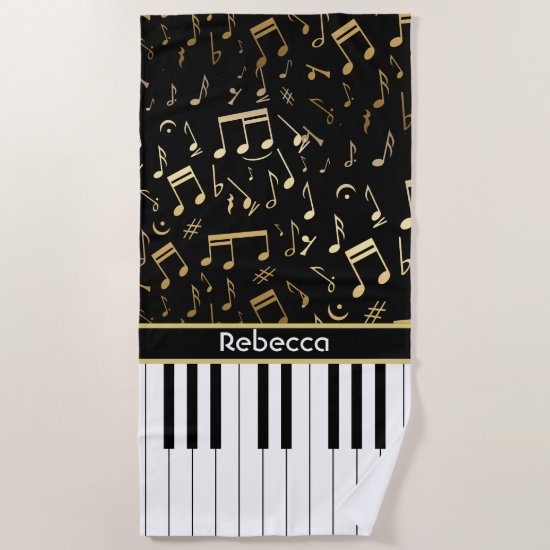 Musical Notes and Piano Keys Black and Gold Beach Towel