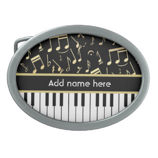Musical Notes and Piano Keys Black and Gold Belt Buckle