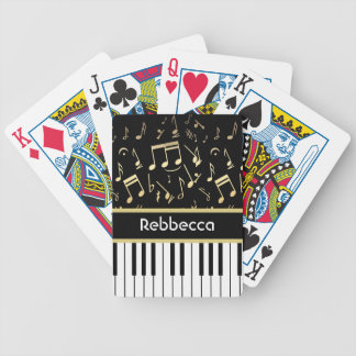 Musical Notes and Piano Keys Black and Gold Bicycle Playing Cards