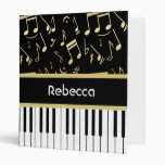 Musical Notes and Piano Keys Black and Gold Vinyl Binders