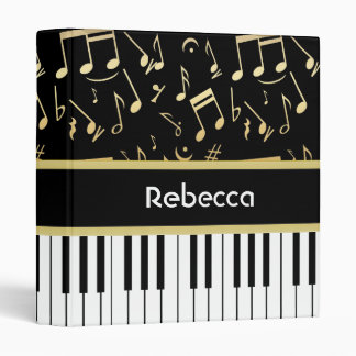 Musical Notes and Piano Keys Black and Gold Binder