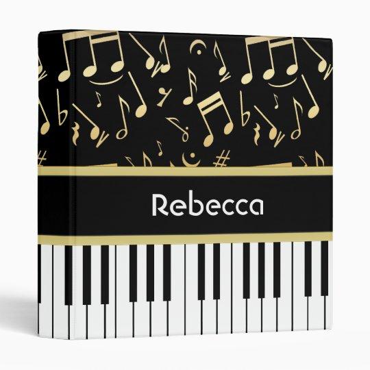 Musical Notes and Piano Keys Black and Gold Binder
