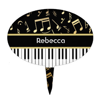 Musical Notes and Piano Keys Black and Gold Cake Pick